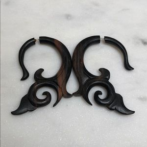 Hand Carved Wooden Filigree Earrings